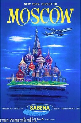 Moscow Russia St. Basil's United States Vintage Travel Advertisement Poster