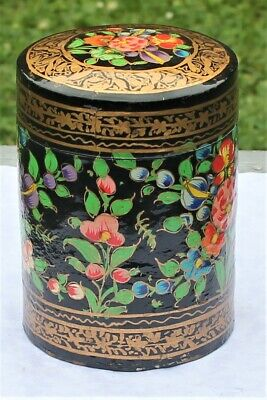 Old Indian hand painted papier-mache tea caddy