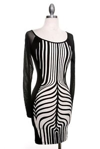 Sexy WILD ZEBRA Mesh Contrast Hourglass Long Sleeve Mini Party Dress Club Wear