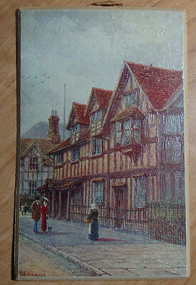 1913 POSTCARD HAND PAINTED SHAKESPEARE'S BIRTHPLACE ARTIST SIGNED BEST WISHES