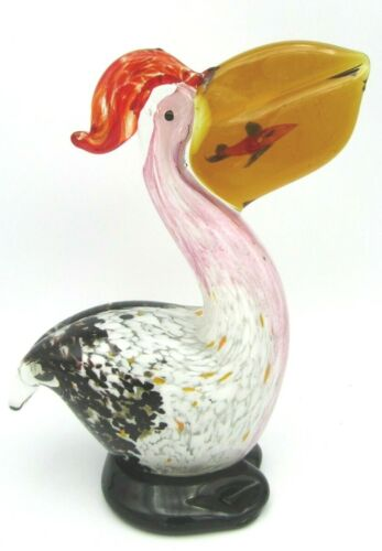 "Stunning Art Studio Speckle Glass Pelican Bird with Fish 6 1/2"" H"