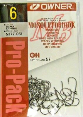 OWNER MOSQUITO HOOK BASS DROP SHOT  HOOKS FINE WIRE #5377-051 SZ 6 QTY 57
