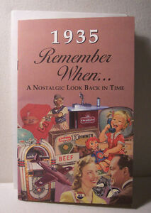 80th Birthday or Anniversary - 1935 Remember When Nostalgic Book Card  - NEW