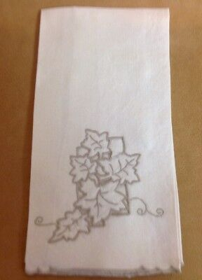 Vintage Tea Or Guest Towel, Linen, Very Light Beige With Beige Leaf Embroidery