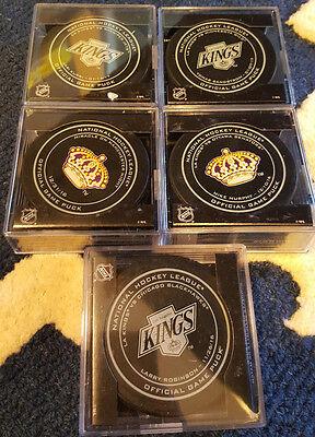 2016-17 SHERWOOD LOS ANGELES KINGS LEGENDS & OPENING NIGHT GAME PUCK SET OF 10