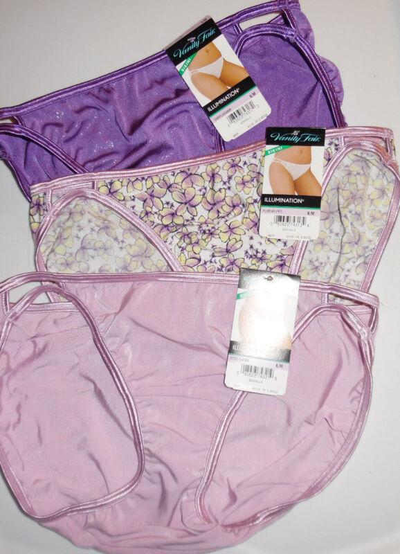 Vanity Fair Bikini Nylon Illumination Panty 6 M 18108 3 Pink Purple Colors NWT