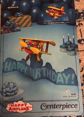 Vintage Hallmark Happy Airplane Birthday Party Centerpiece Mobile Cardboard (Airplane Centerpieces)