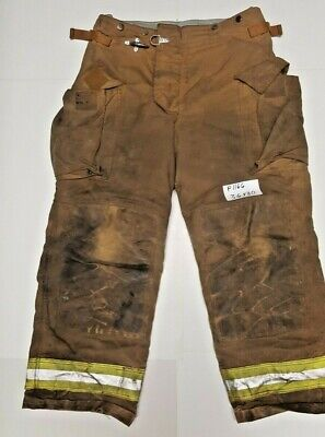36x30 Securitex Brown Firefighter Turnout Bunker Pants W Yellow Refl Tape P1166