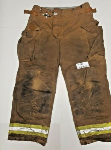 36X30 Securitex Brown Firefighter Turnout Bunker Pants w/ Yellow Refl Tape P1166