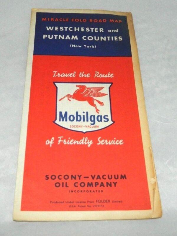 VTG 1952 Mobilgas Mobil Gasoline Westchester & Putnam Counties New York Road Map