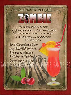 ZOMBIE  COCKTAIL RECIPE METAL SIGN :HOME BAR:PUB:BAR:CAFE:KITCHEN LOVELY GIFT - Zombie Pub