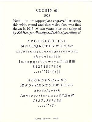 New Letterpress Type- 12pt. Cochin