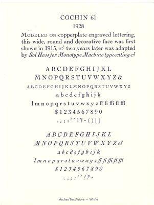 New Letterpress Type - 12 Point Cochin Roman