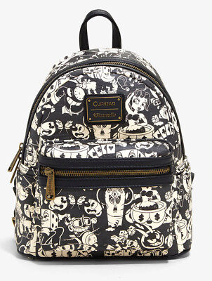 NWT 2018 Cuphead Mini Faux Leather B&W Loungefly Backpack Bag Hot Topic SOLD OUT Leather Mini Backpack Handbag