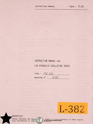 Lvd Mv 316 Guillotine Shear Instructions Wiring And Parts Manual 1973