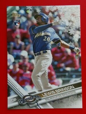 2017 TOPPS HOLIDAY METALLIC SNOWFLAKE #HMW82 LEWIS BRINSON MILWAUKEE BREWERS