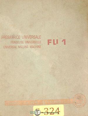 Saimp Fu1 Universal Milling Machine Instructions Machine Drawings Manual 1958