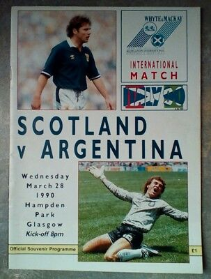 Scotland v Argentina Friendly 1990 Football Matchday Programme