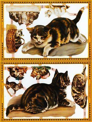 Mamelok Golden Victorian Scraps - Die Cut Reliefs - A121 / A122, Cats (3).