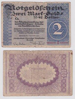 2 Goldmark Banknote Lohnscheckbank Chemnitzer Industrieller GmbH 1923 (121818)