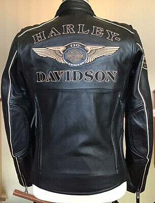New HARLEY DAVIDSON Men's SMALL 110 Year Anniversary Black Leather Jacket - MINT