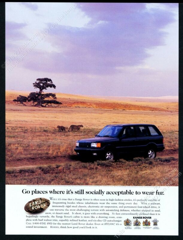 1996 Land Rover Range Rover black SUV Africa leopards photo vintage print ad