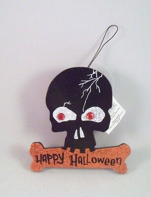 Wooden Skull Happy Halloween Ornament by Evergreen Enterprise New and Retired