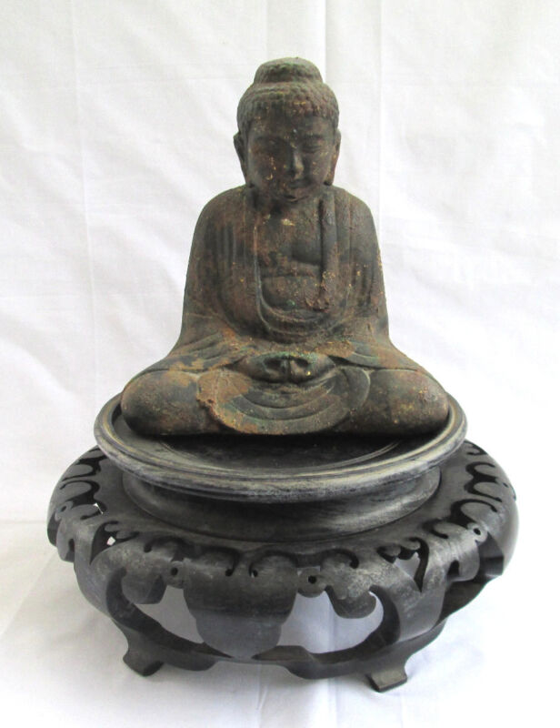 Old Antique Japanese Amida Buddha after Kamakura in Cast Iron, Excellent!