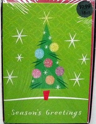 18ct-CSS Glitter Christmas Cards-Christmas Tree-Season's Greetings-5