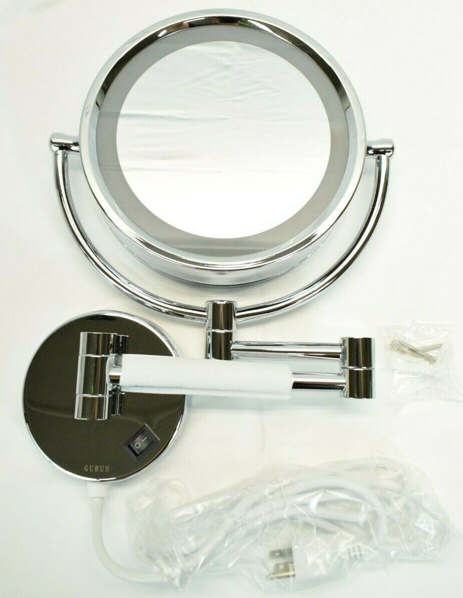 GURUN 8.5 Inch LED Lighted Wall Mount Makeup Mirrors with 10