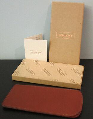 Longaberger Country Estates Sable Brown Leather Eyeglass Case - NIB