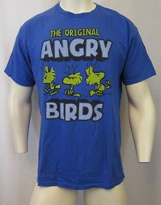 PEANUTS GANG THE ORIGINAL ANGRY BIRDS CREW NECK T-SHIRT SZ L BLUE