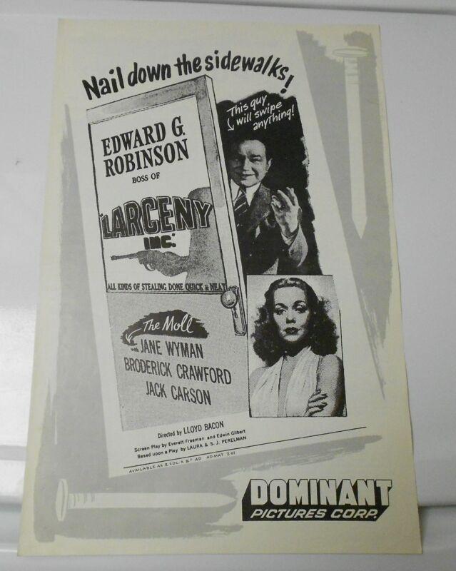 1942 LARCENY INC. / THE MOLL Press Book Kit JANE WYMAN FN+