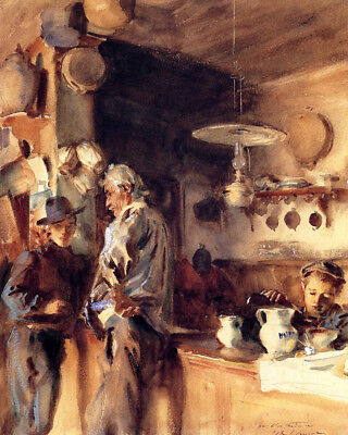 John Singer Sargent A Spanish Interior, The Wine Shop Oil Painting repro  Shop Spanish Wine