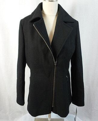Kristen Blake Womens Asymmetrical Wool Blend Coat Black Us Size S Nwt