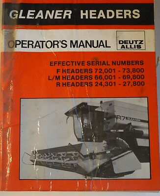 Allis Chalmers Gleaner Headers Operators Manual F Lm And R Series.
