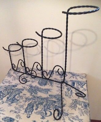 Vintage French Style Wrought Iron Plant Pot Holder / Stand (1036)