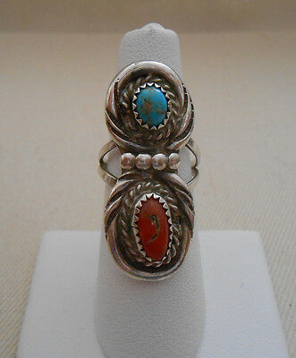 Southwest Sterling Silver Coral & Turquoise  Ring   431207