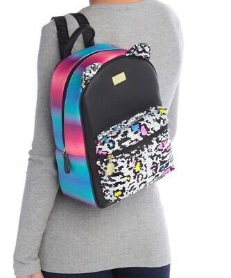 NWT Luv Betsey Johnson Mags Midsize Backpack Leopard Neon Sequin + Ears MSRP $88