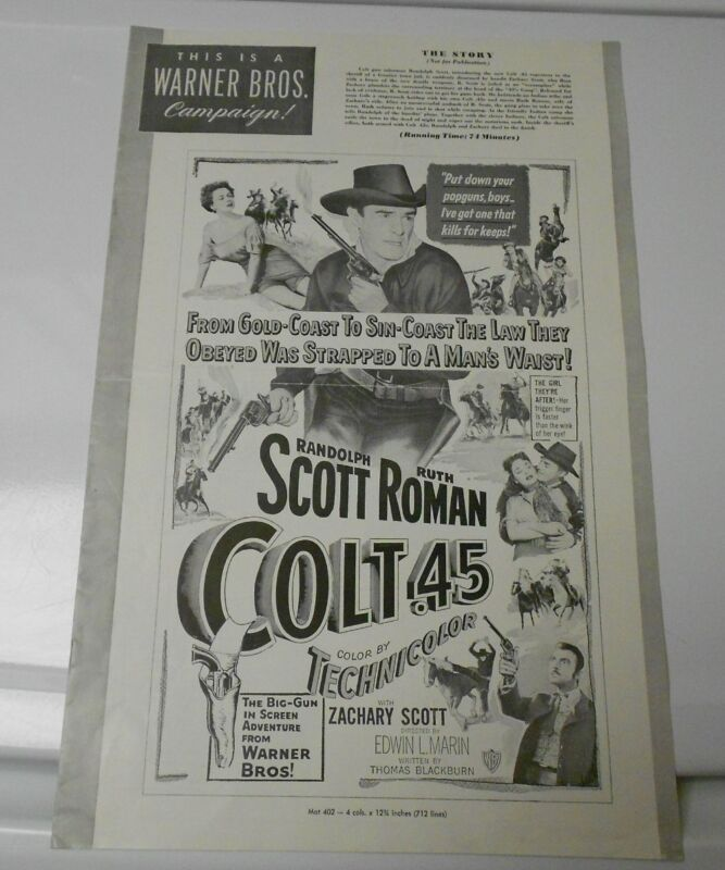 1950 COLT .45 Western Press Book Kit Randolph Scott RUTH ROMAN FN+