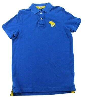 Abercrombie & Fitch Blue Muscle Large Moose Embroidered Logo Mens Polo Sz Medium