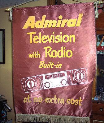 VINTAGE OLD ADVERTISING ADMIRAL TELEVISION RADIO DEALER PROMOTION FLAG 1940/50'S