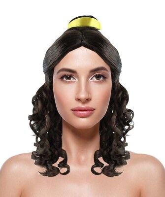 Adult Cosplay Belle Style Emma Halloween Party Curly Wavy Black Wig HW-1340A - Adult Belle Wig