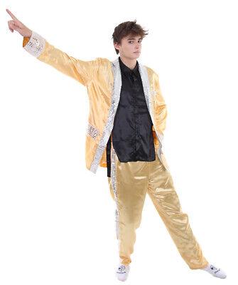 Celebrities Costume (Gold Suit Coat Shirt Pants Cosplay Elvis Satin Party Celebrity Costume)