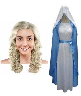 Bundle Dress Wavy Wig Cosplay Mother of Jesus Virgin Mary Biblic HC-017 HW-1968 - Mary Mother Of Jesus Costume