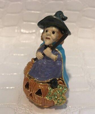 Art Form Witch On Jack O Lantern Halloween Bejeweled Jeweled Magnet Trinket - Halloween Bejeweled