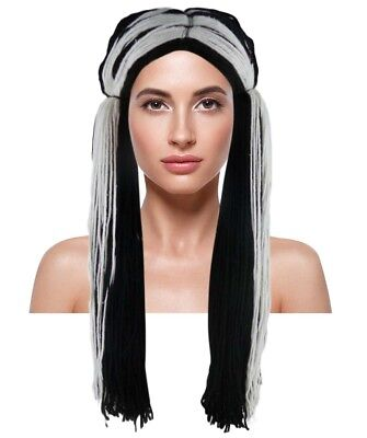 Adult Size Black White Rag Doll style Wig Halloween Party Costume Hair - Black And White Doll Halloween Costume