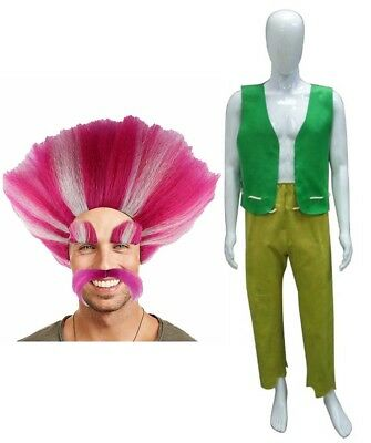 King Costumes For Adults (Adult Men Bundle Troll Wig Costume for Cosplay Trolls King Peppy HC-046)