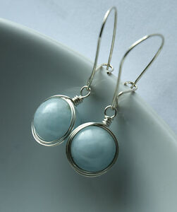 sterling silver blue genuine aquamarine handmade wire wrapped earrings jewellery