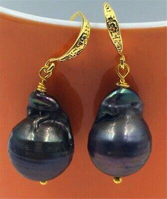Aurora gorgeous south sea earbob 14-18MM HUGE baroque black  pearl earrings Drop South Sea Earrings
